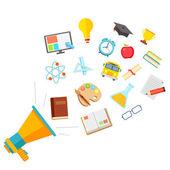 Concepto de educación plana — Vector de stock