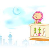 Kid offering namaaz for Eid celebration — Vector de stock