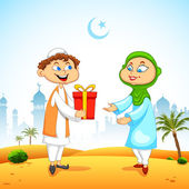 People presenting gift to celebrate Eid — Vector de stock