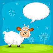 Sheep wishing Eid mubarak — Stock Vector