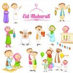 Muslim people celebrating Eid — Stock Vector #48946699