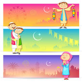 People celebrating Eid — Stock Vector