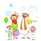 Muslim family celebrating Eid — Stock Vector