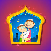 People hugging and wishing Eid Mubarak — Stock Vector