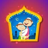 People hugging and wishing Eid Mubarak — Stock Vector