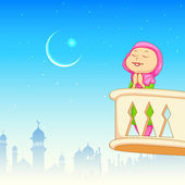 Kid offering namaaz for Eid celebration — Stock Vector