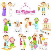 Muslim people celebrating Eid — Stock Vector