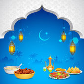 Delicious dishes for Iftar party — Vector de stock