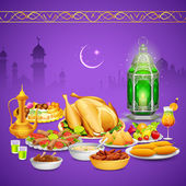 Delicious dishes for Iftar party — Stock Vector