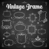 Vintage floral frame on chalkboard — Stock Vector