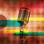 Vintage Microphone on abstract musical background — Stock Vector