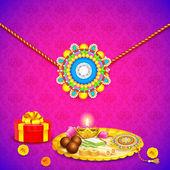 Decorated thali with rakhi for Raksha Bandhan — Stock Vector