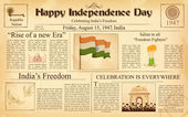 Vintage newspaper for Happy Independence Day of India — Stock Vector