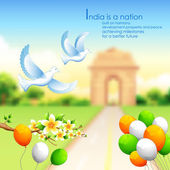 India background with tricolor balloon and India Gate — Stock Vector