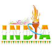 Fire torch in India background — Stock Vector