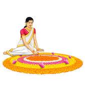 Woman making rangoli for onam — Stock Vector