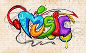 Graffiti style Music background — Stok Vektör