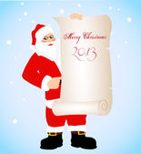 On the image cheerful Santa Claus with a banner — Stock Vector