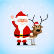 Cheerful Santa Claus with a deer — Stock Vector