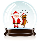 Sphere with Santa Claus and a deer — Stock Vector