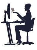 Girl at the computer feeds a bird — Stockvektor
