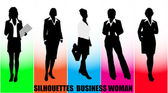 Silhouettes business woman — Stock Vector