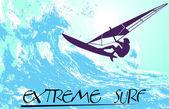 Abstrakte silhouette der ein surfer im ozean — Stockvektor