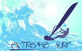 Silhueta abstrata de um surfista no oceano — Vetorial Stock