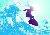 Abstract silhouette of a surfer in the ocean — Stock Vector