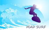 Abstrakt silhuetten av en surfare i havet — Stockvektor