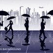 Businessmen under umbrellas against the city - Stock vektor