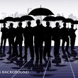 Businessmen under umbrellas against the city - Stock Vector
