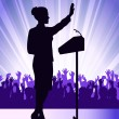 Stock Vector: Person before microphone