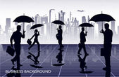 Businessmen under umbrellas against the city — Stock Vector