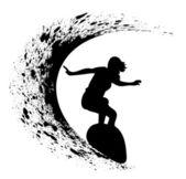 Silhouetten van surfers — Stockvector