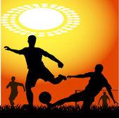 силуэты игроков в футбол — Cтоковый вектор