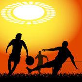 Siluety hráči fotbal — Stock vektor