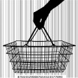 Stock Vector: Consumer basket against bar code