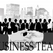 Stock Vector: Business team against city