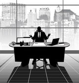 Businessman in the office — Stock Vector
