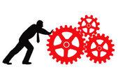 Businessman rotating machines — Stock Vector