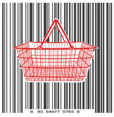 Consumer basket against the bar code — Stock Vector
