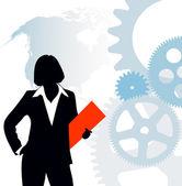 Biznesmen na techniczne tło — Wektor stockowy