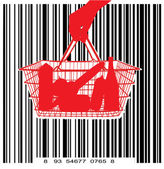 Consumer basket against the bar code — Stock Vector