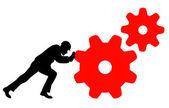 Worker turns machines — Stock Vector