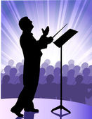 Conductor before public — Stock Vector