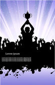 On the image the silhouette of the champion in crowd of people is presented — Stock Vector