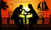Romantic dinner on the beach — Stock Vector