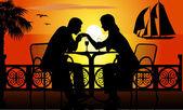 Romantic dinner on the beach — Stock Vector