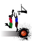 Basketball match on grunge background — Stock Vector